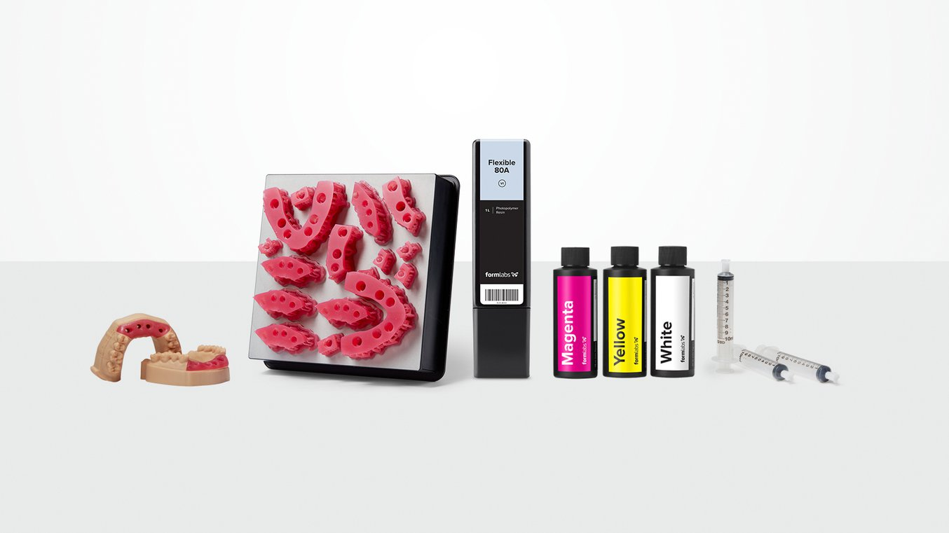Soft Tissue Starter Pack, with Flexible 80A Resin and Magenta, Yellow, and White Color Pigments